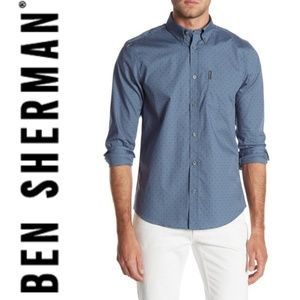 BEN SHERMAN Polkadot Long Sleeve Reg Fit Shirt